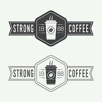 ヴィンテージコーヒーのロゴ、ラベル、エンブレムのセット。ベクトルイラスト