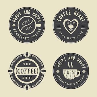 ヴィンテージコーヒーのロゴ、ラベル、エンブレムのセット