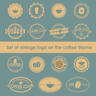 Набор старинных кофейных логотипов