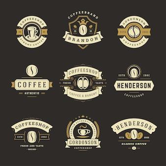 ビンテージコーヒーショップのロゴのセット