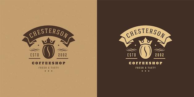빈티지 커피 숍 로고 세트