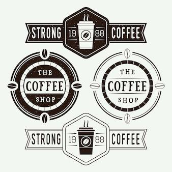 ヴィンテージコーヒーベクトルのロゴ、ラベル、エンブレムのセット