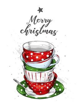 Набор старинных чашек. новый год и рождество.