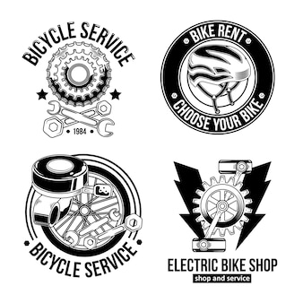 ヴィンテージサイクリストのエンブレム、ロゴのセット。白で隔離。