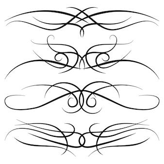 빈티지 장식 컬, 소용돌이, 모노그램 및 붓글씨 테두리 세트. 흰색 바탕에 검은색으로 선 그리기 디자인 요소입니다. 벡터 일러스트 레이 션.