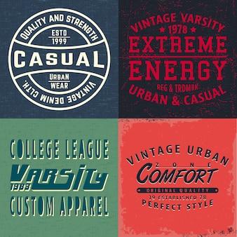 Tシャツのスタンプ、tシャツのアップリケ、ファッションのタイポグラフィ、バッジ、ラベルの服、ジーンズ、カジュアルウェアのヴィンテージデザインプリントのセット。