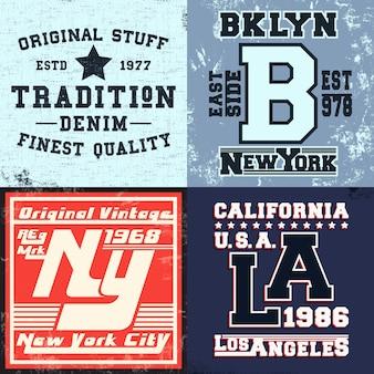 Tシャツスタンプのヴィンテージデザインプリントのセット