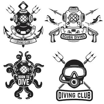 ビンテージダイビングヘルメットのセットです。ダイバーのエンブレム。ダイバー武器。図
