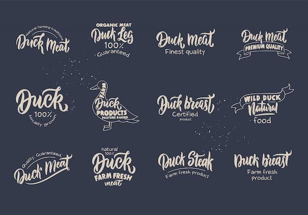 Набор старинных утка и мясо логотип. значки сельскохозяйственной продукции