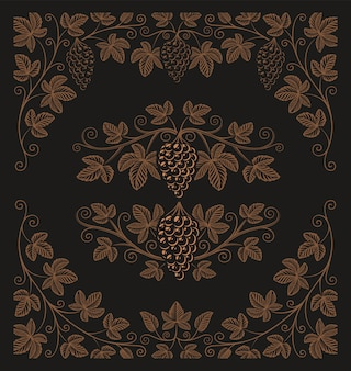 포도 가지와 테두리 장식 또는 어두운 배경에 알코올 브랜딩의 빈티지 요소 집합입니다.