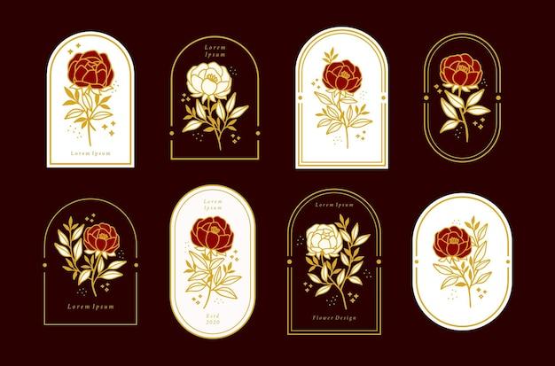 女性用フレーム付きのヴィンテージの女性らしい美しさの花柄のロゴエレメントのセット
