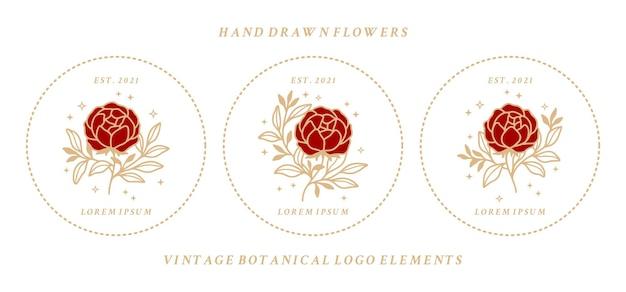 フレーム付きのヴィンテージフェミニンな美しさの花のロゴ要素のセット