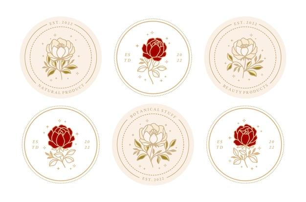 フレーム付きのヴィンテージフェミニンな美しさのバラと牡丹の花のロゴ要素のセット