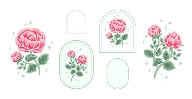 女性のためのフレームとヴィンテージフェミニンな美しさのバラ牡丹花ラベルロゴ要素のセット