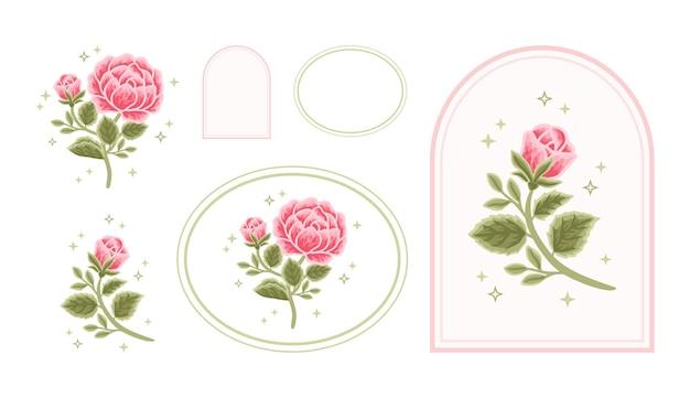 女性のためのフレームとヴィンテージフェミニンな美しさのバラ牡丹の花のロゴ要素のセット