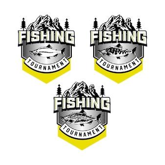 Набор старинных рыболовных клубов значок эмблемы