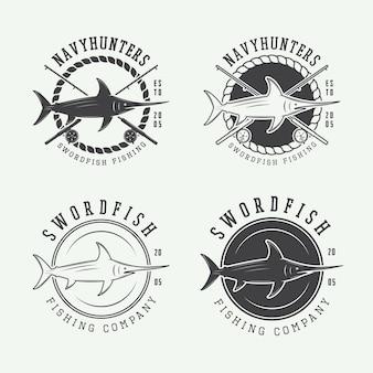 ヴィンテージ釣りラベル、ロゴ、バッジ、デザイン要素のセットです。ベクトルイラスト
