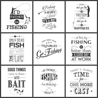 빈티지 낚시 인쇄상의 따옴표 그림의 집합