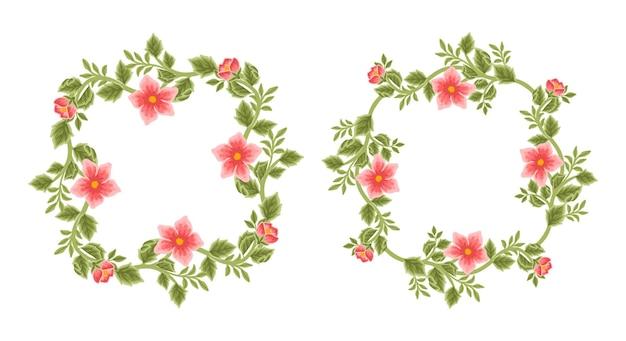 빈티지 꽃 프레임 및 화환 배열 세트