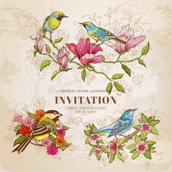 ヴィンテージの花と鳥のセット