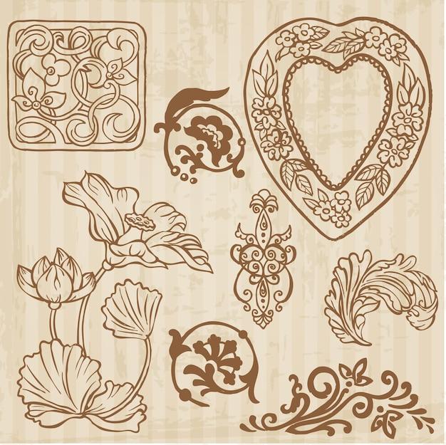 빈티지 꽃과 꽃 요소 손으로 그린 세트