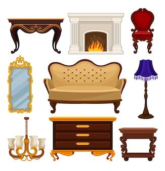 ビンテージ家具のセット。アンティークのソファと椅子、クラシックな暖炉、テーブルと木製のナイトテーブル、壁鏡、ランプ