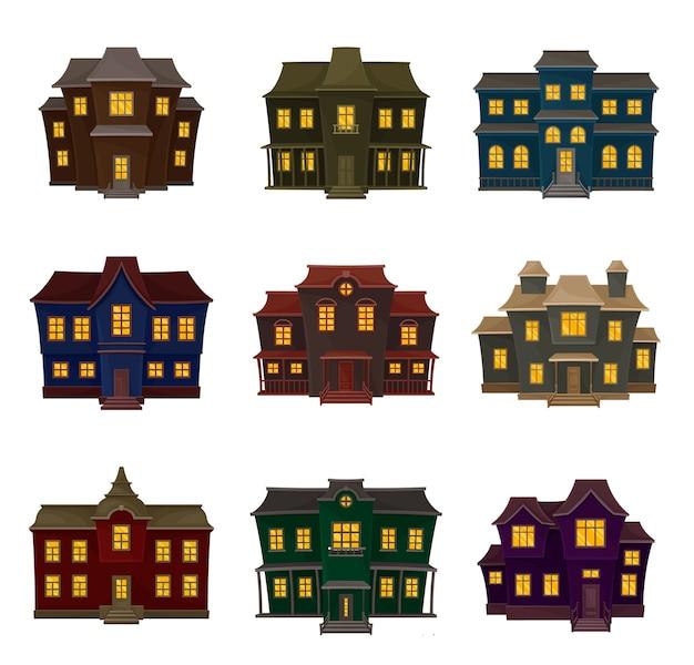 さまざまな形や色のヴィンテージの暗い家のセット