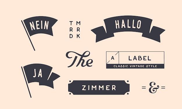 ヴィンテージグラフィックのセットです。デザイン要素、線形描画、ヴィンテージヒップスタースタイル。旗、リボン、バナー、ボーダー。ドイツ語のテキストja、nein、hallo、zimmer-はい、いいえ、こんにちは、部屋のベクトル図
