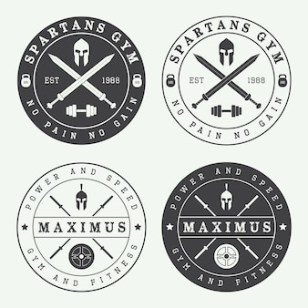 ヴィンテージジムのロゴのセット Premiumベクター