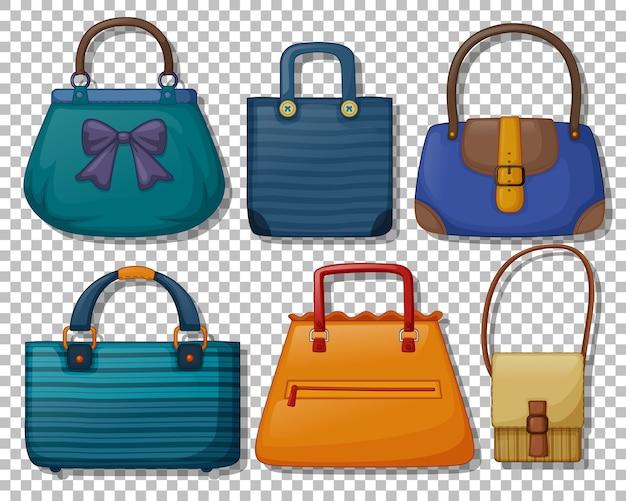 分離されたビンテージハンドバッグ漫画スタイルのセット