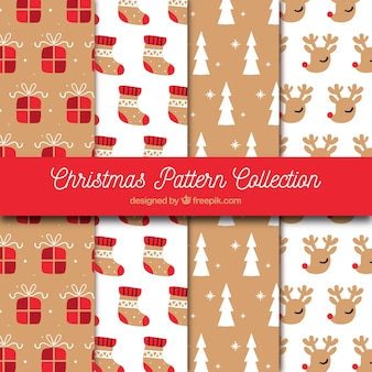 Set of vintage hand drawn christmas patterns