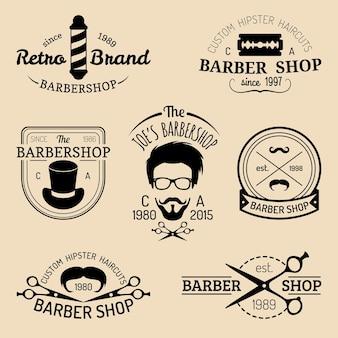 Набор старинных хипстерских логотипов парикмахерской. парикмахерские значки или коллекция эмблем.