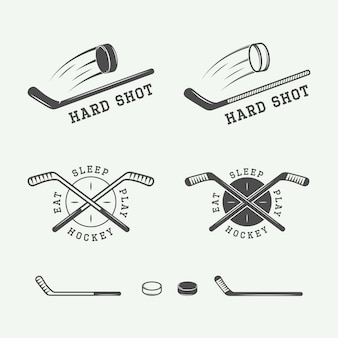 Набор старинных хоккейных эмблем