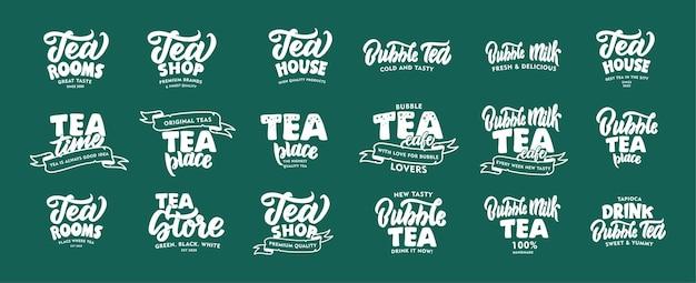 Набор старинных горячего чая и эмблем и фраз холодного чайного напитка пузыря.