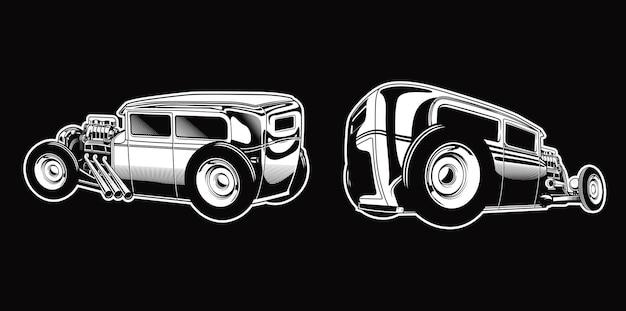 흑백 복고 스타일 자동차에 빈티지 hotrod 세트 premium vector