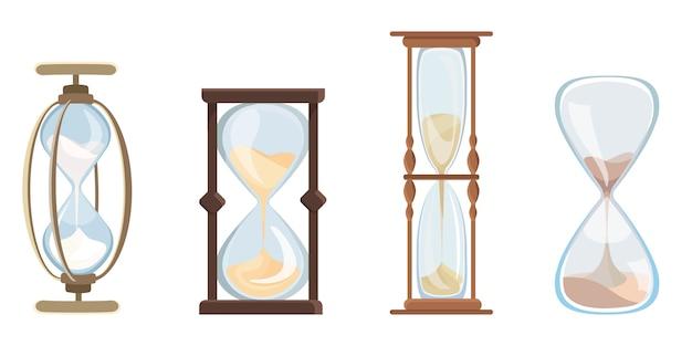 Набор старинных песочных часов. часы с течет песок в мультяшном стиле.