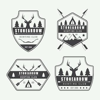 ヴィンテージハンティングラベル、ロゴ、バッジのセット、eps 10