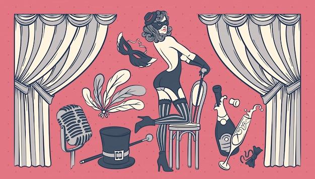Набор старинных иллюстраций с объектами шоу кабаре и красивой танцовщицей