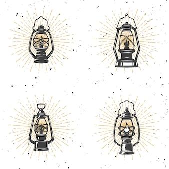 Комплект винтажной иллюстрации лампы керосина на белой предпосылке. элемент для логотипа, этикетки, эмблемы, знака. иллюстрация