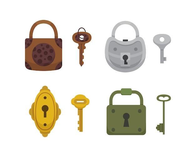 ヴィンテージキーとロックのセット。漫画の南京錠。秘密、謎、または安全なアイコン。