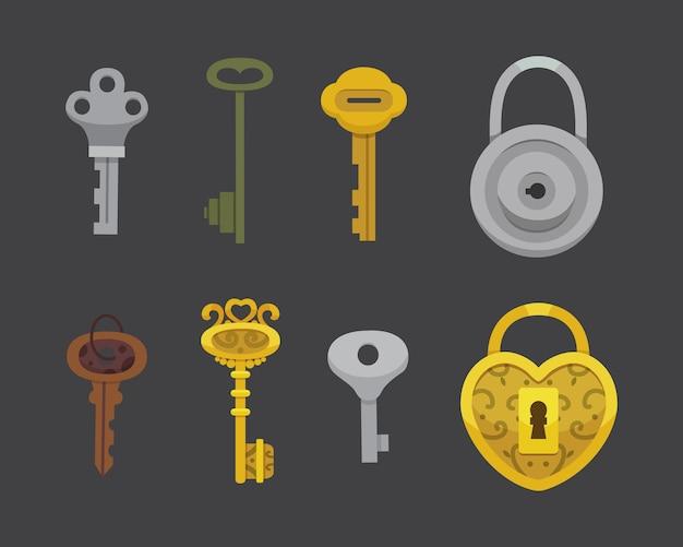 ヴィンテージキーとロックのセット。イラスト漫画南京錠。秘密、謎、または安全なアイコン。