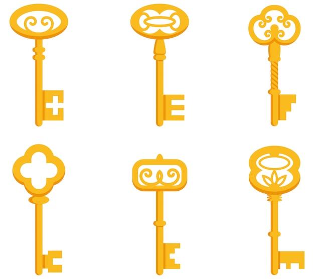 Набор старинных ключей. золотые ключи в мультяшном стиле.