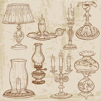 빈티지 램프와 촛불 손으로 그린 세트