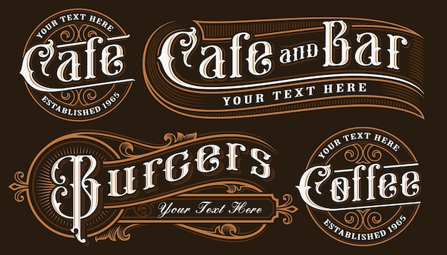 Набор старинных надписей иллюстраций для ресторанов, кафе, бара и других. все объекты находятся в отдельных группах.