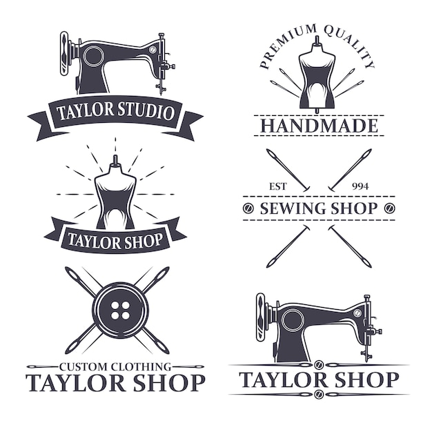 Набор старинных логотипов или элементов логотипа для тейлора