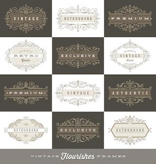 活気づく書道のエレガントな飾りフレーム-イラストとヴィンテージのロゴのテンプレートのセット