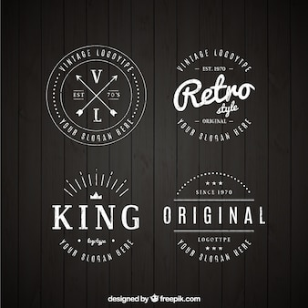 Set of vintage logos in linear style