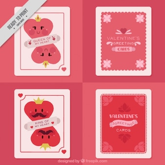 마음과 좋은 문구와 함께 빈티지 사랑 카드 세트 무료 벡터