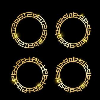로고 장식을 위한 빈티지 럭셔리 황금 고대 시대 그리스 테두리 프레임 세트