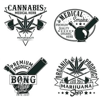 ビンテージ医療大麻ロゴデザイン、グランジプリントスタンプ、創造的なマリファナのタイポグラフィエンブレムのセット、